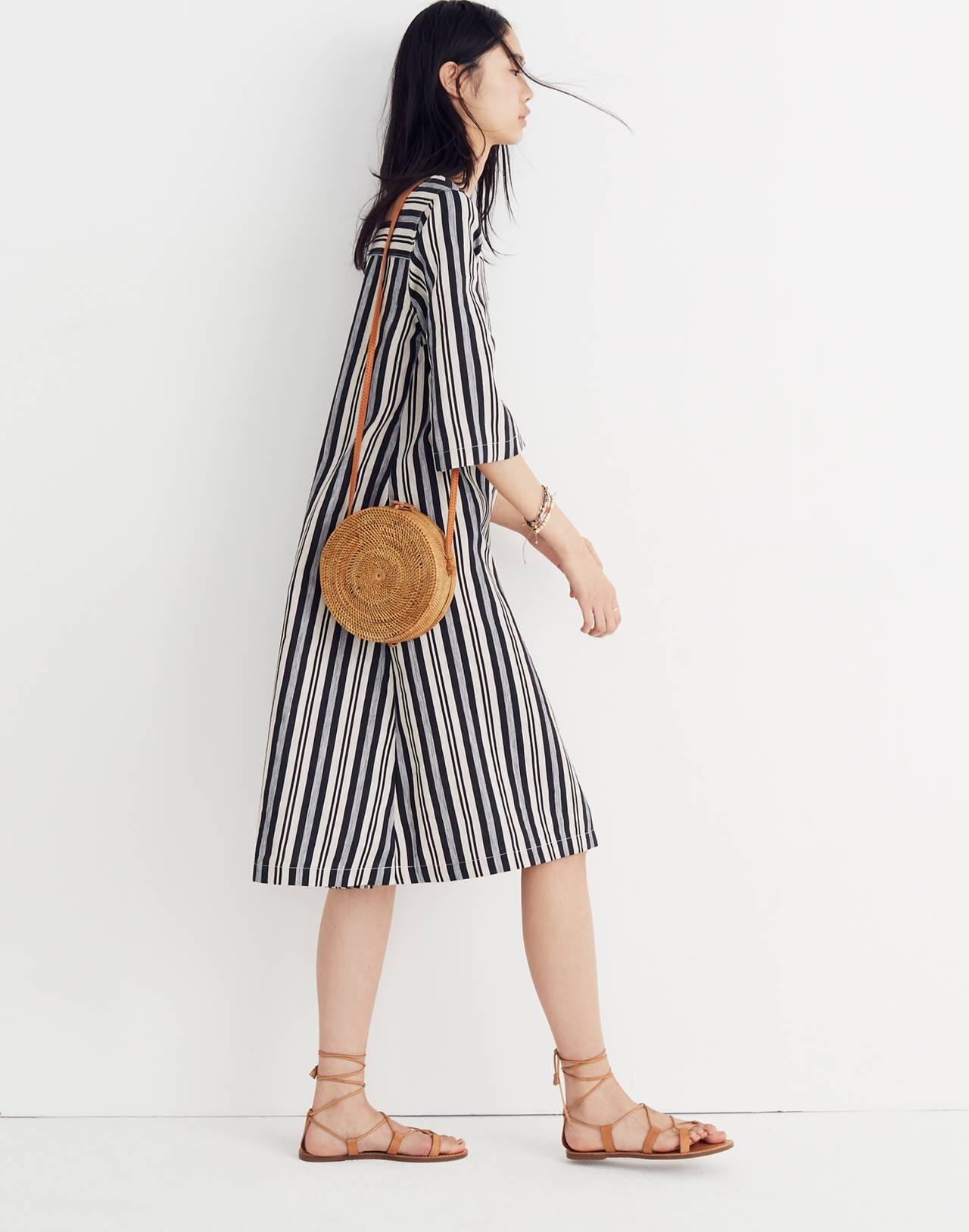 Square-Neck Midi Dress in Evelyn Stripe in boardwalk stripe stone image 3