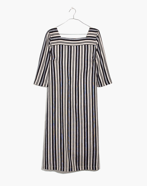 Square-Neck Midi Dress in Evelyn Stripe in stone image 4