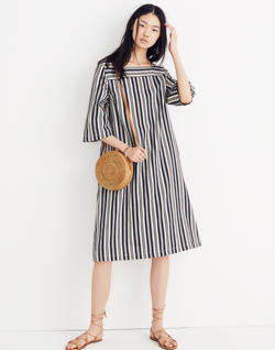 Square-Neck Midi Dress in Evelyn Stripe