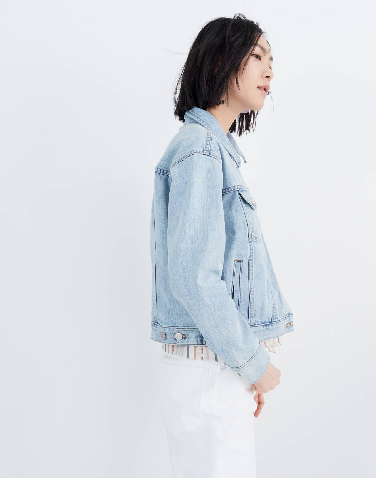 The Boxy-Crop Jean Jacket in Fitzgerald Wash in fitzgerald wash image 2