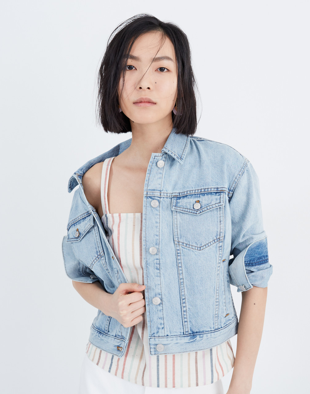 80s Windbreakers, Jackets, Coats The Boxy-Crop Jean Jacket in Fitzgerald Wash $128.00 AT vintagedancer.com