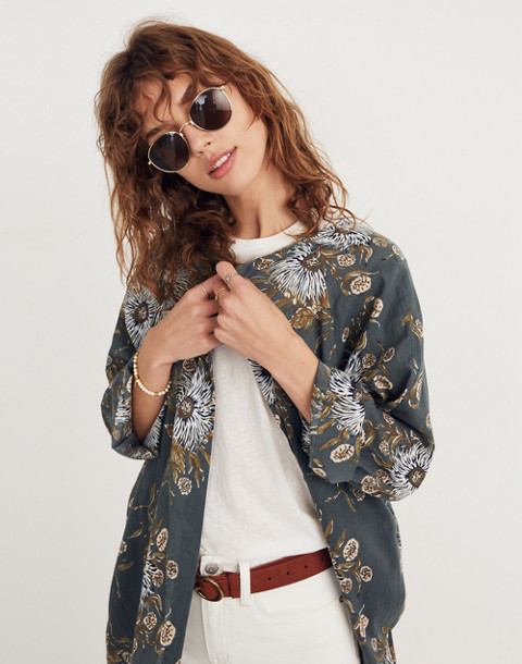 Robe Jacket in Painted Blooms in van architect green image 3