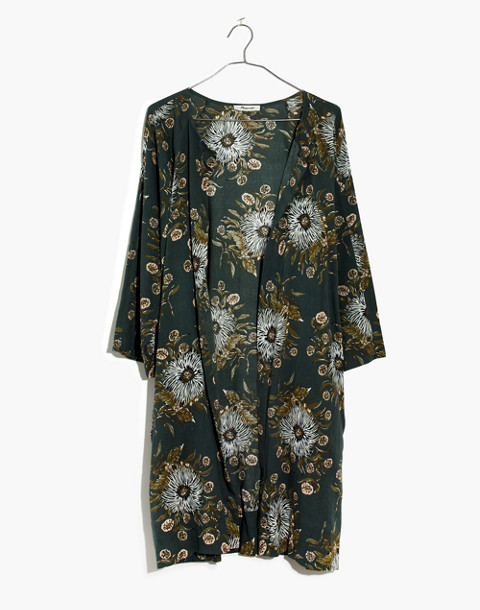 Robe Jacket in Painted Blooms in van architect green image 4