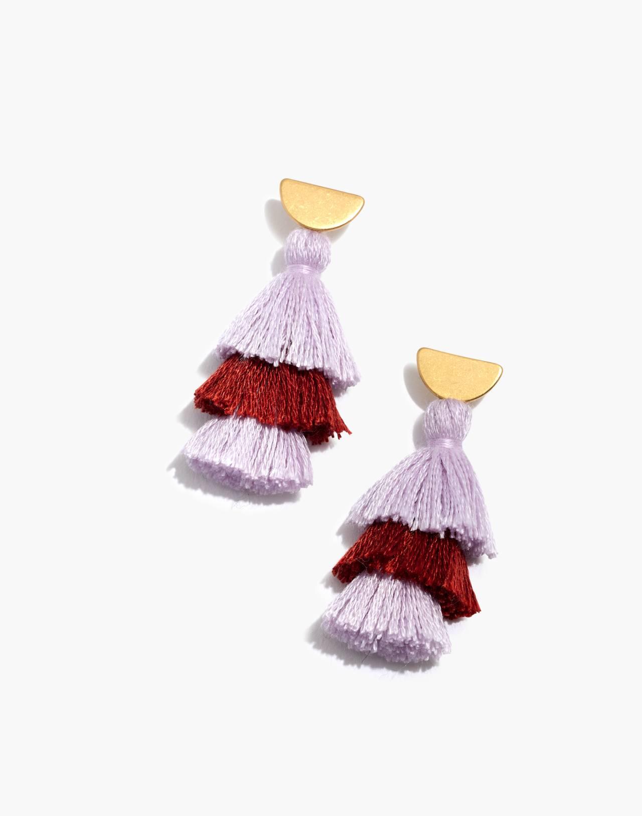 Tiered Tassel Earrings in wisteria dove multi image 1