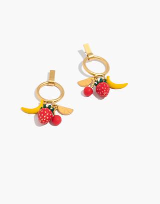 Fresh Fruit Hoop Earrings in vintage gold image 1