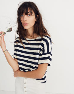Boxy Sweater Tee in Kelley Stripe