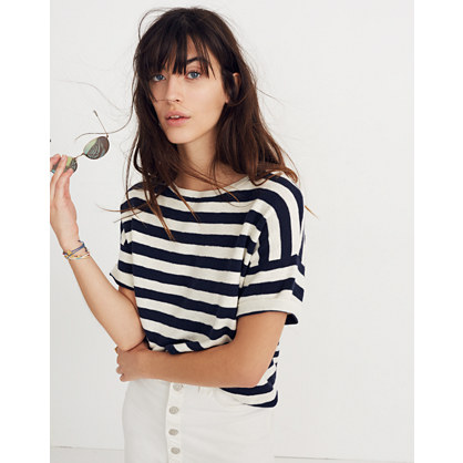 Boxy Sweater Tee In Kelley Stripe by Madewell