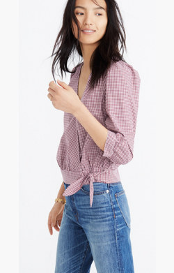 Wrap Top in Gingham Check