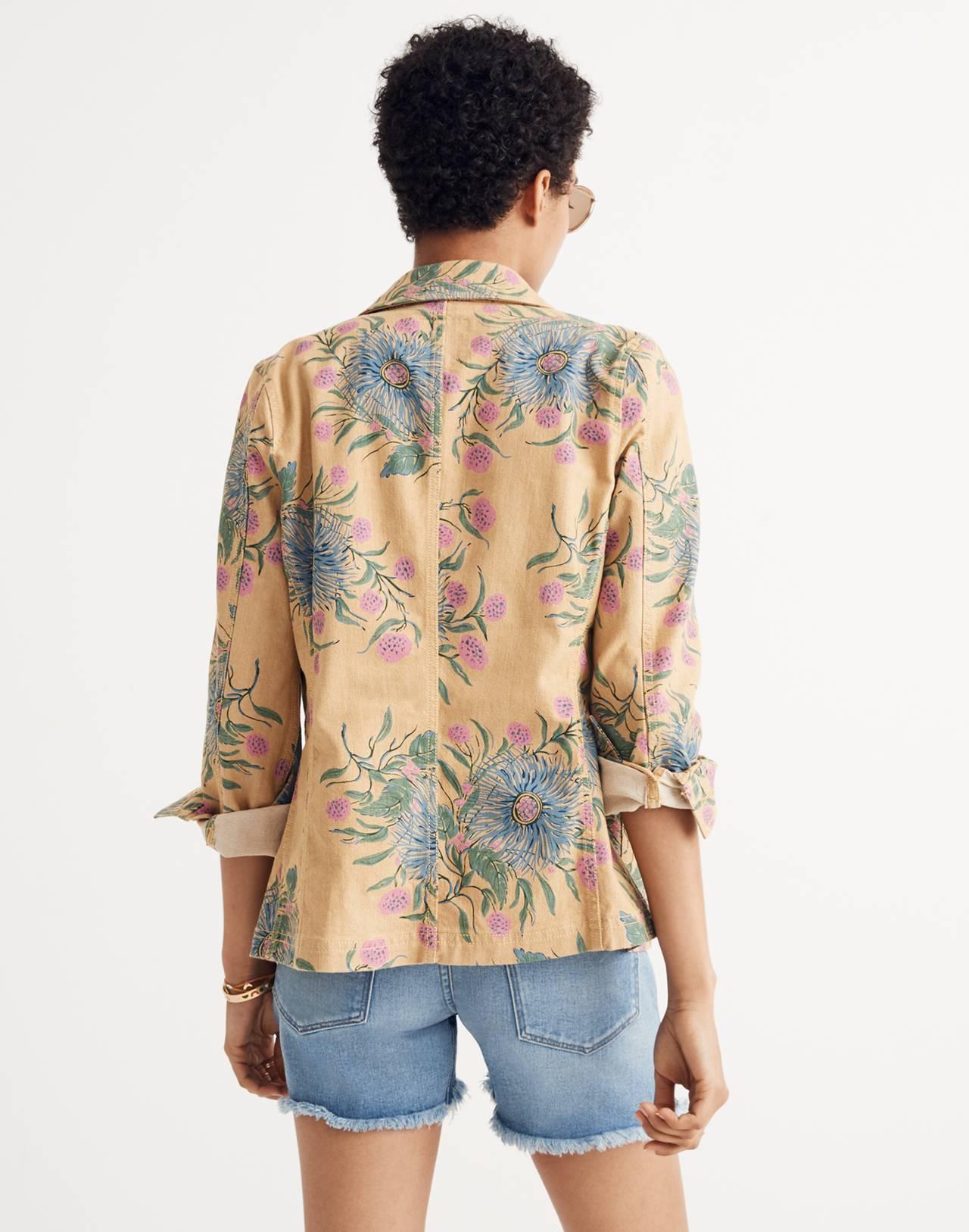 Tailored Workwear Jacket in Painted Blooms in van greek gold image 3