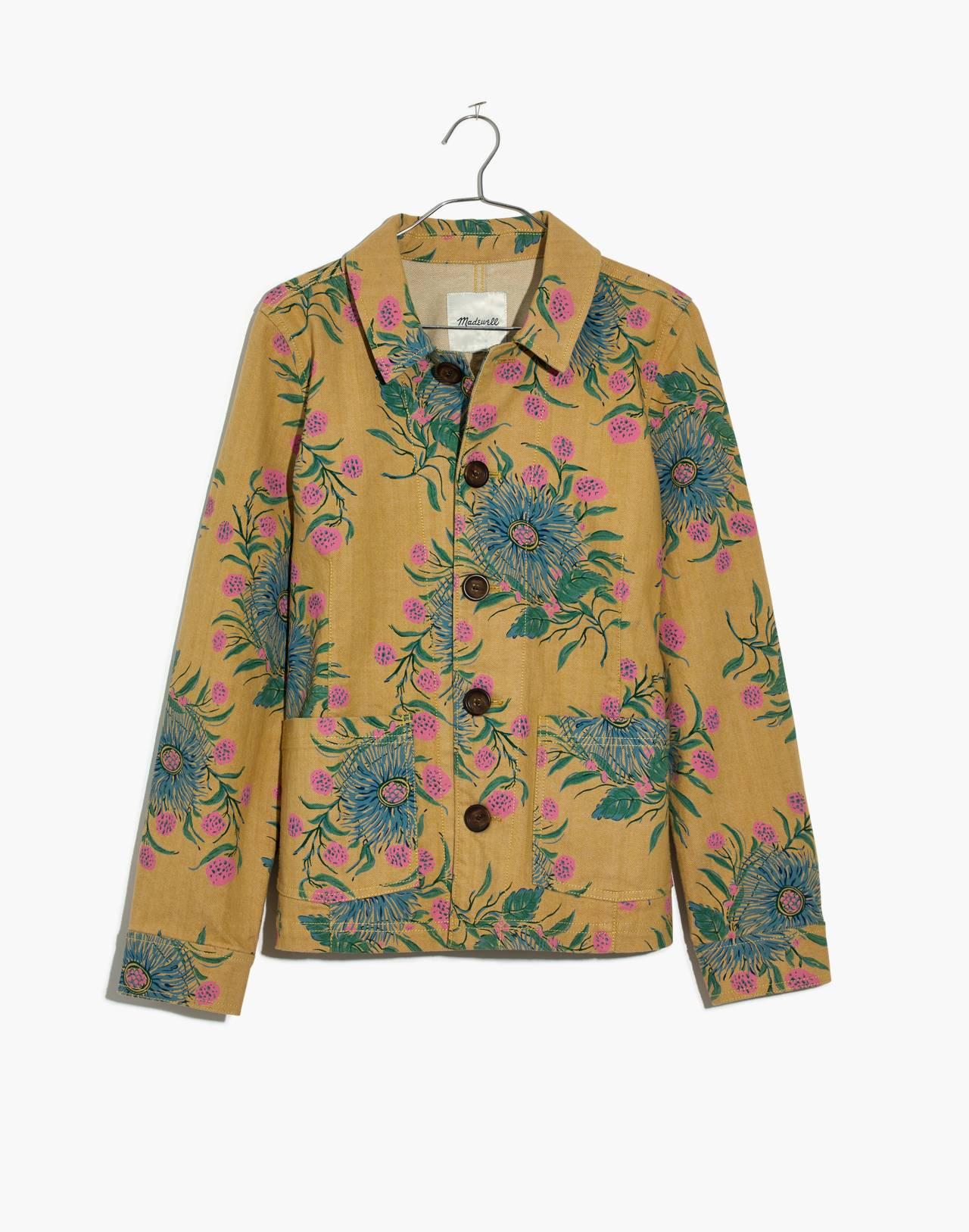 Tailored Workwear Jacket in Painted Blooms in van greek gold image 4