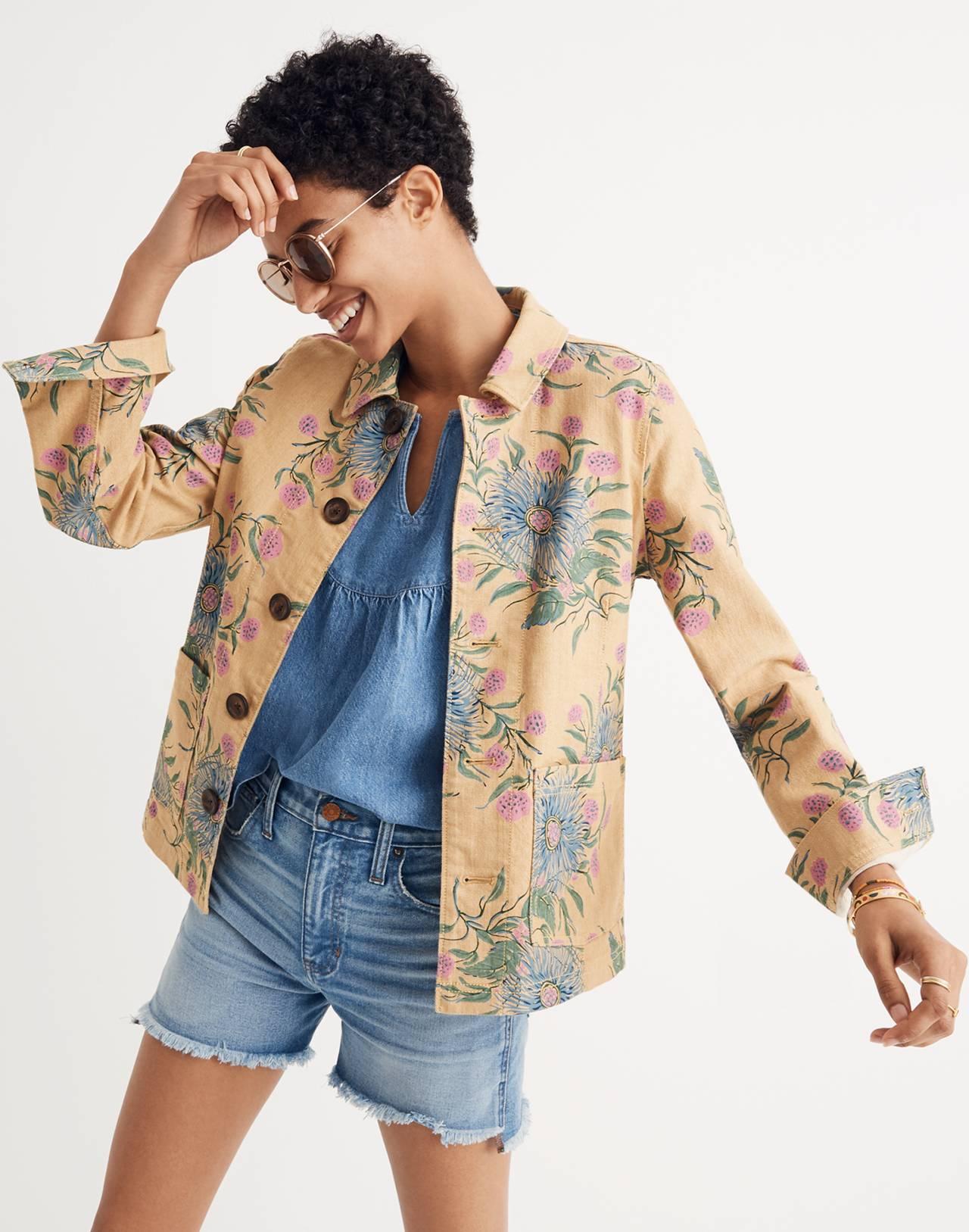 Tailored Workwear Jacket in Painted Blooms in van greek gold image 1