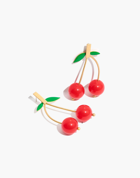Cherry Drop Earrings in ripe persimmon image 1
