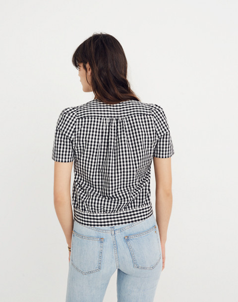 Short-Sleeve Wrap Top in Gingham Check in true black image 3