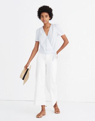 Short-Sleeve Wrap Top in Stripe