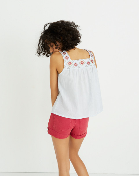 Embroidered Island Tank Top in Stripe in weathered sky image 3