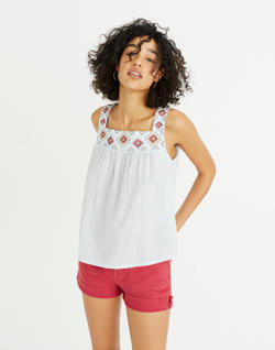 Embroidered Island Tank Top in Stripe