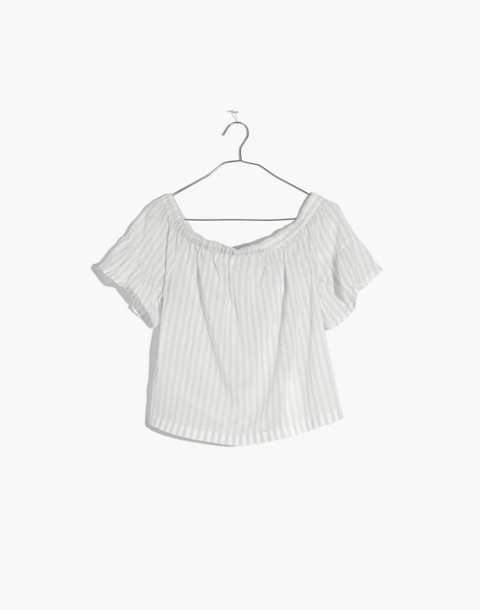 Striped Off-the-Shoulder Ruffle-Sleeve Top in sea glass image 4