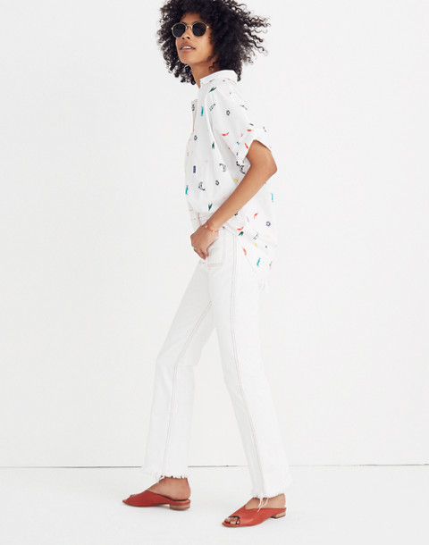 Summer Friday Embroidered Courier Button-Back Shirt in bbq eyelet white image 2