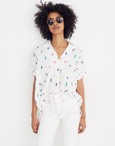Summer Friday Embroidered Courier Button-Back Shirt in bbq eyelet white image 1