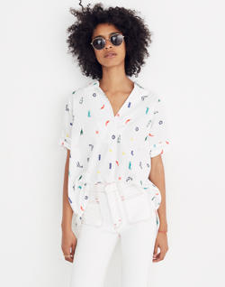 Summer Friday Embroidered Courier Button-Back Shirt