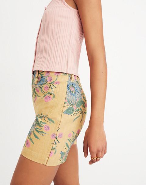 Emmett Shorts in Painted Blooms in van greek gold image 3