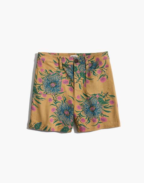 Emmett Shorts in Painted Blooms in van greek gold image 4
