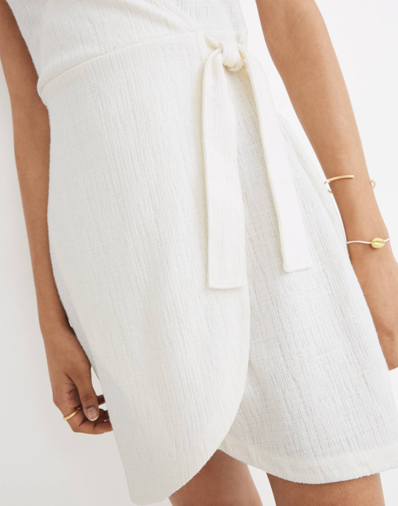 Texture & Thread Side-Tie Dress in bright ivory image 2