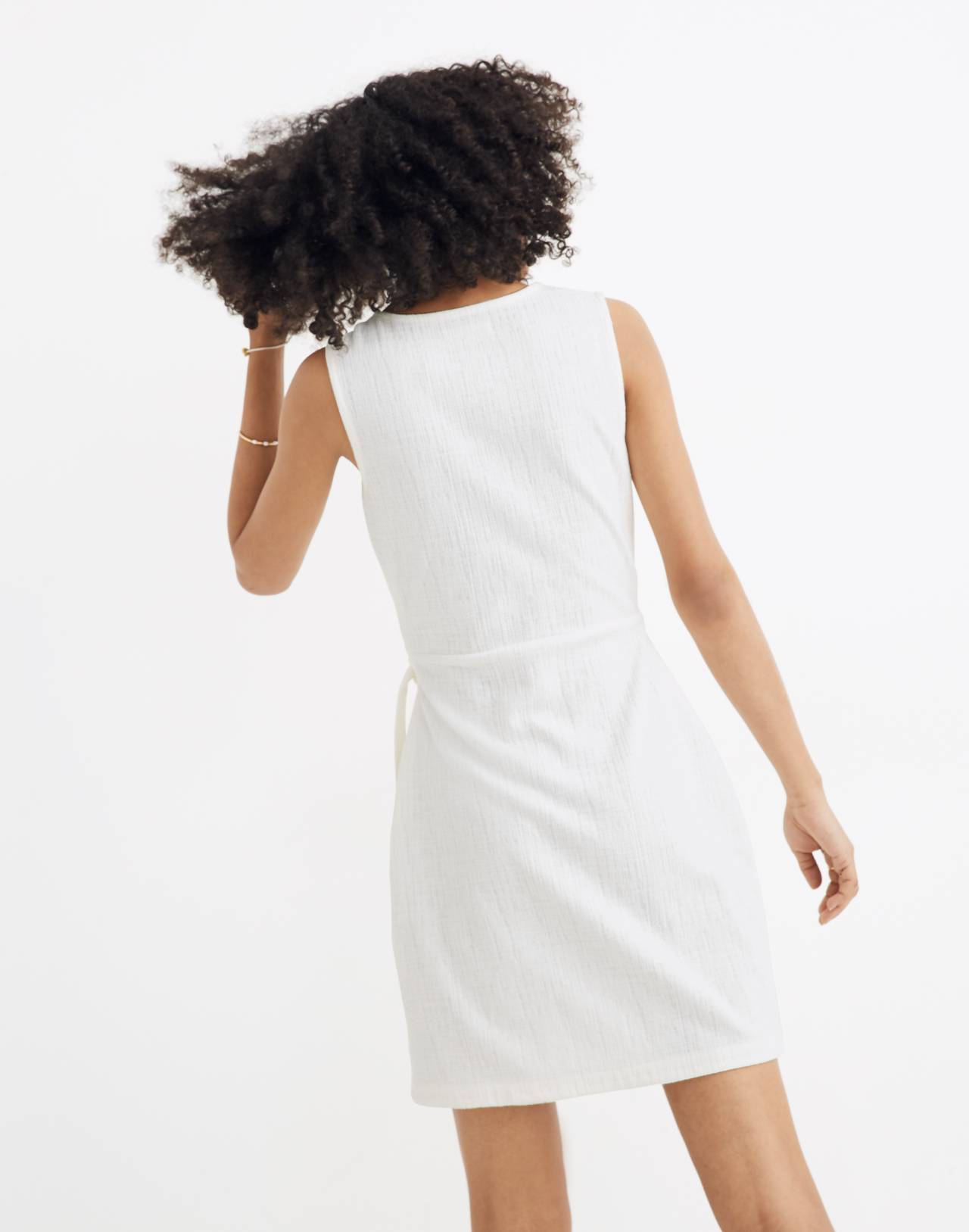 Texture & Thread Side-Tie Dress in bright ivory image 3