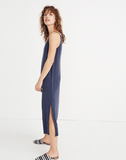Sandwashed Midi Slip Dress in deep indigo image 2