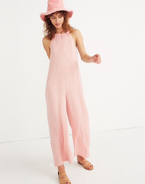 Keyhole Wide-Leg Jumpsuit in Pink Icing in pink icing image 1