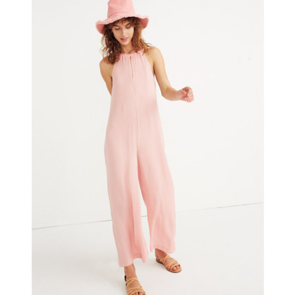 Keyhole Wide-Leg Jumpsuit in Pink Icing