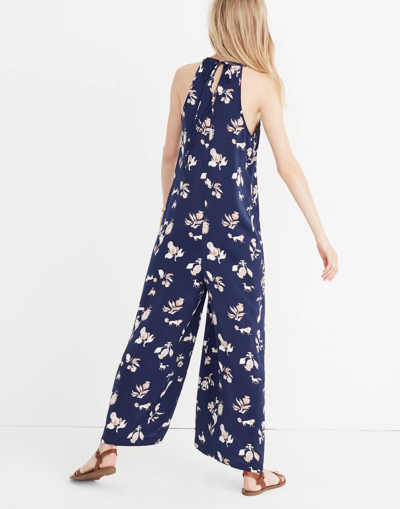 Keyhole Wide-Leg Jumpsuit in Menagerie in folklore print nightfall image 3