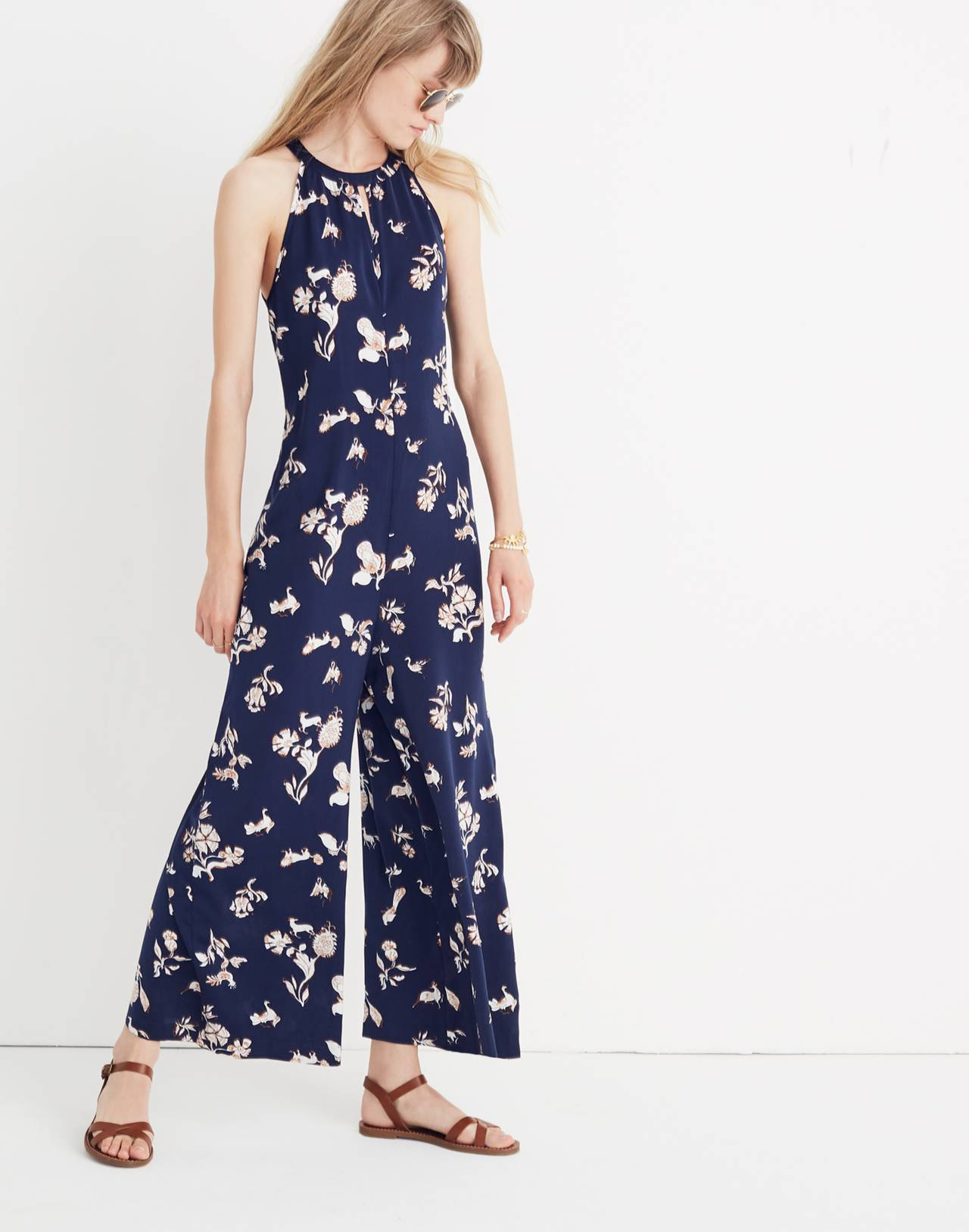 Keyhole Wide-Leg Jumpsuit in Menagerie in folklore print nightfall image 1