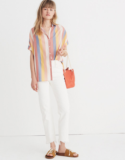 Central Shirt in Sherbet Stripe in antique coral image 2