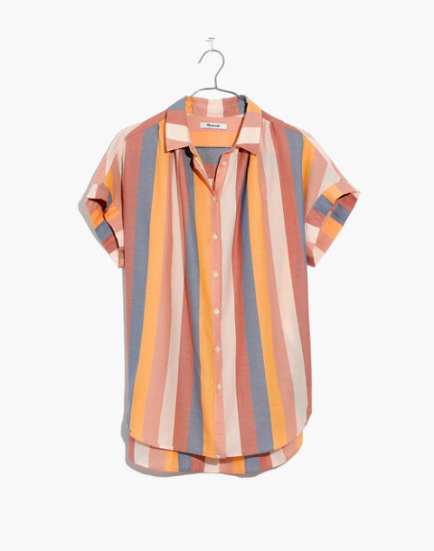 Central Shirt in Sherbet Stripe in antique coral image 4