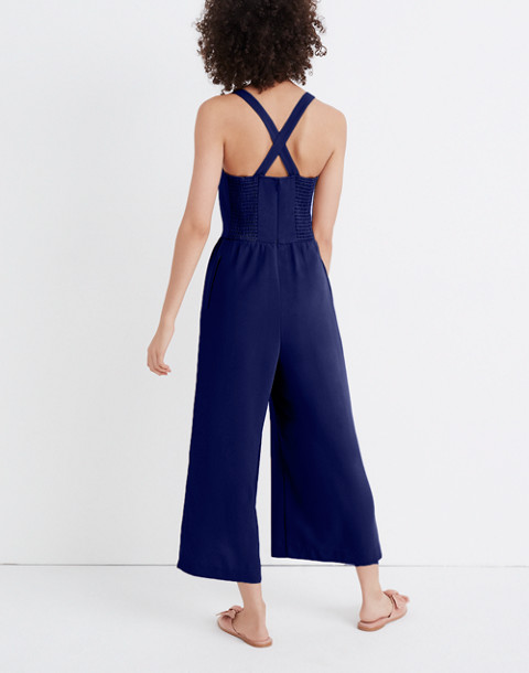 Smocked Button-Front Crop Jumpsuit