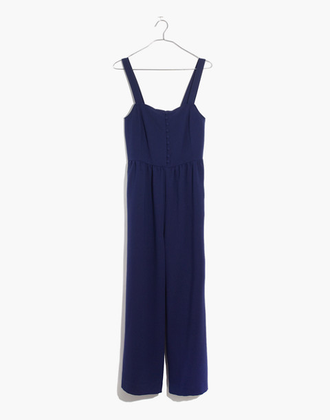 Smocked Button-Front Crop Jumpsuit in nightfall image 4