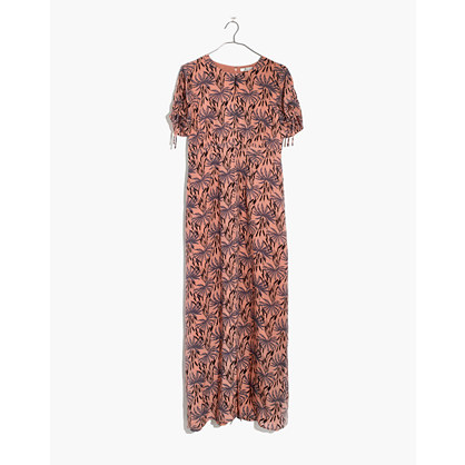 Silk Tie-Sleeve Maxi Dress in Oasis Palms