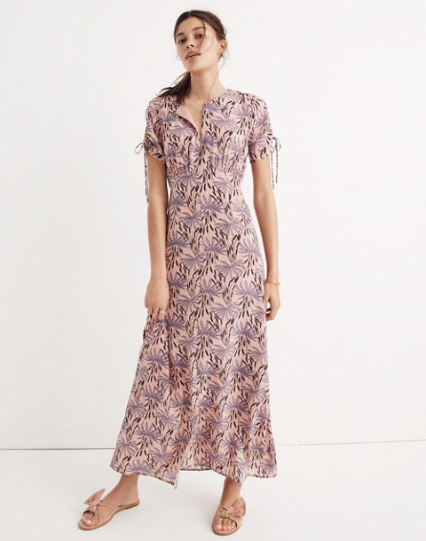 Silk Tie-Sleeve Maxi Dress in Oasis Palms in moss navy image 2
