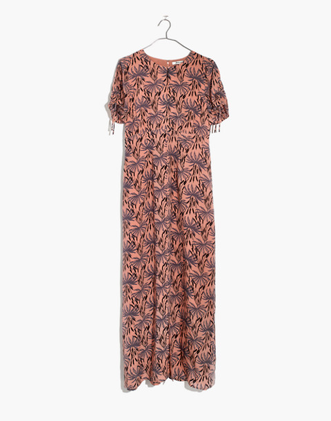 Silk Tie-Sleeve Maxi Dress in Oasis Palms in moss navy image 4
