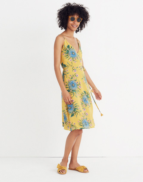 Silk Wrap Dress in Painted Blooms