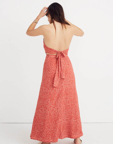 Halter Tie-Back Maxi Dress in Twisted Vines in pomegranate spiced rose image 3