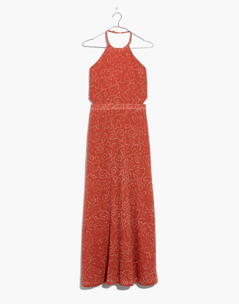 Halter Tie-Back Maxi Dress in Twisted Vines in pomegranate spiced rose image 4