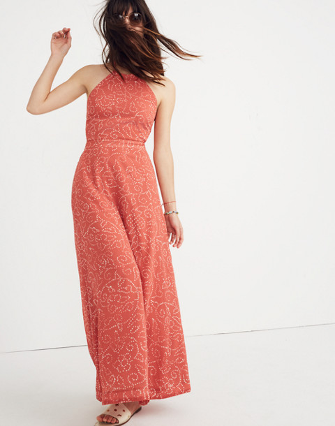 Halter Tie-Back Maxi Dress in Twisted Vines in pomegranate spiced rose image 1