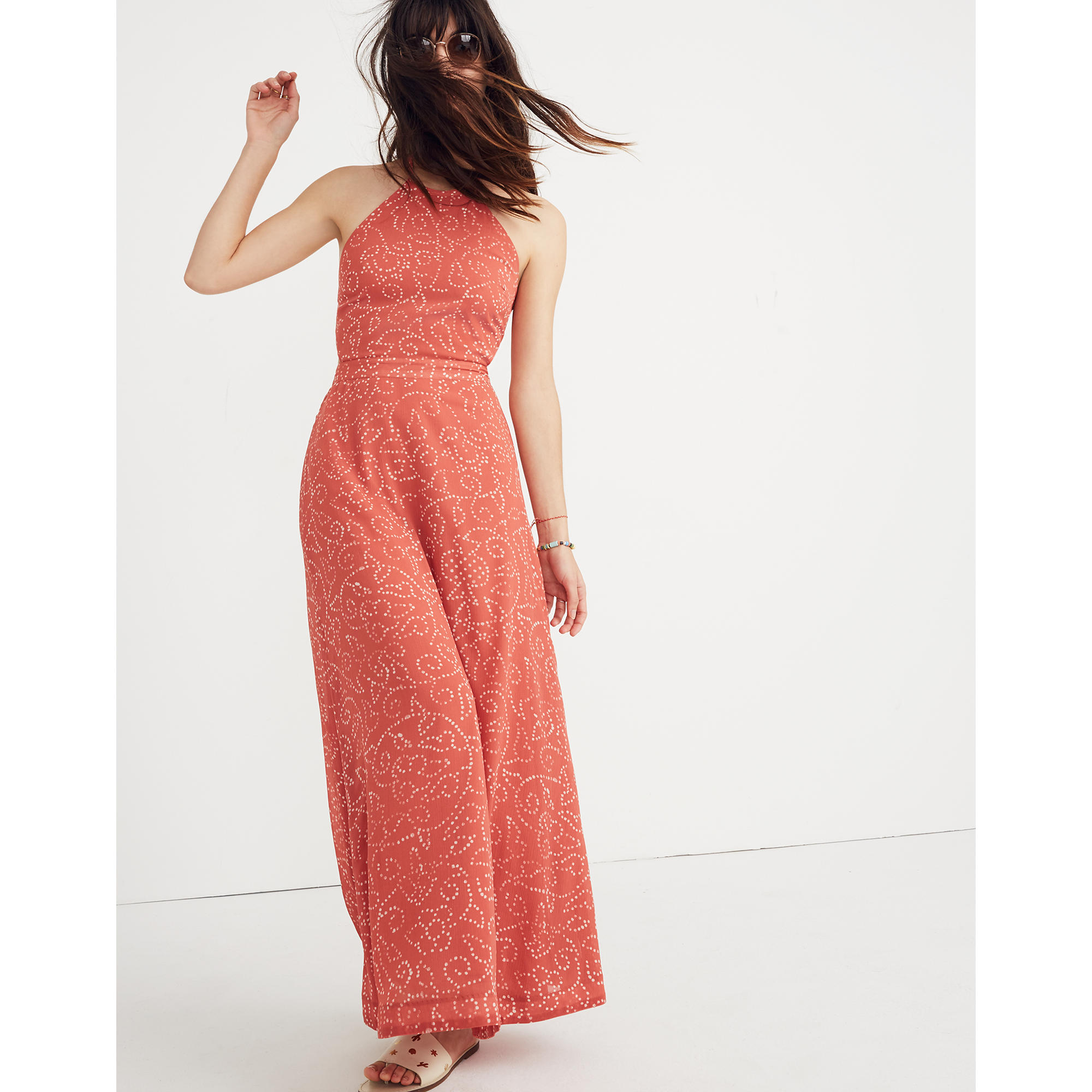 madewell halter tie-back maxi dress in twisted vines