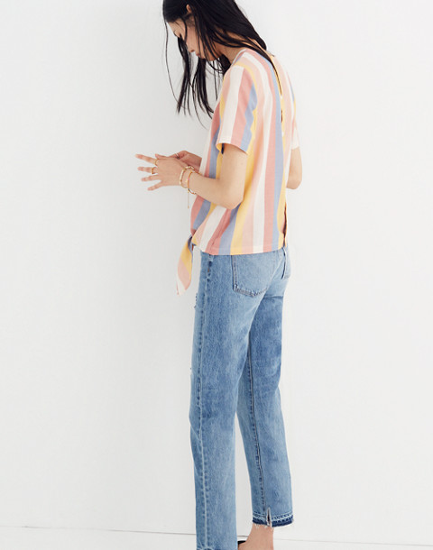Button-Back Tie Tee in Sherbet Stripe in antique coral image 2
