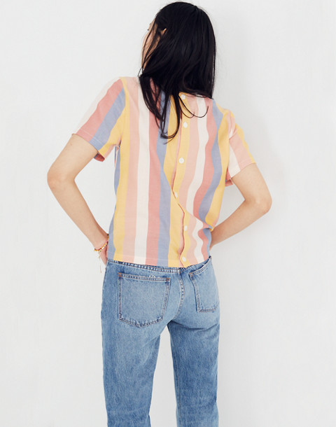 Button-Back Tie Tee in Sherbet Stripe in antique coral image 3