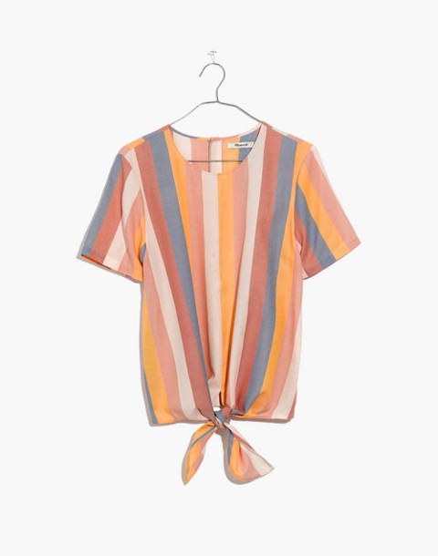 Button-Back Tie Tee in Sherbet Stripe in antique coral image 4