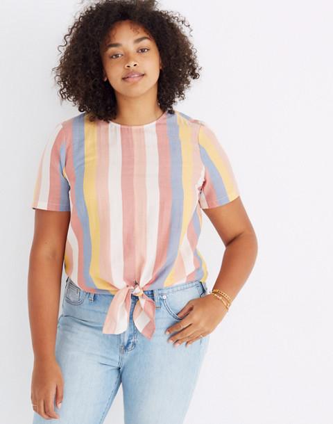 Button-Back Tie Tee in Sherbet Stripe in antique coral image 1