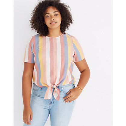 Button Back Tie Tee In Sherbet Stripe by Madewell